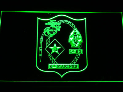US Marine Corps 1st Battalion 6th Marines LED Neon Sign - Green - SafeSpecial