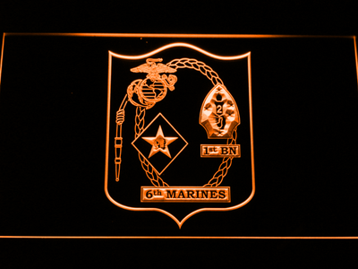US Marine Corps 1st Battalion 6th Marines LED Neon Sign - Orange - SafeSpecial