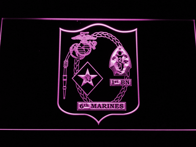 US Marine Corps 1st Battalion 6th Marines LED Neon Sign - Purple - SafeSpecial