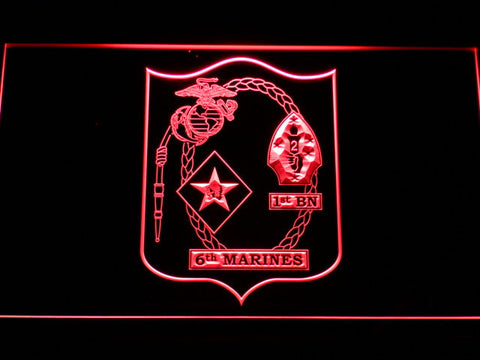 US Marine Corps 1st Battalion 6th Marines LED Neon Sign - Red - SafeSpecial