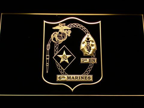US Marine Corps 1st Battalion 6th Marines LED Neon Sign - Yellow - SafeSpecial