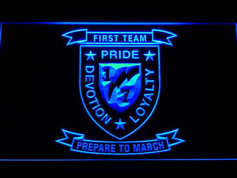 Image of US Marine Corps 1st Battalion 7th Marines LED Neon Sign - Blue - SafeSpecial