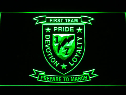 Image of US Marine Corps 1st Battalion 7th Marines LED Neon Sign - Green - SafeSpecial