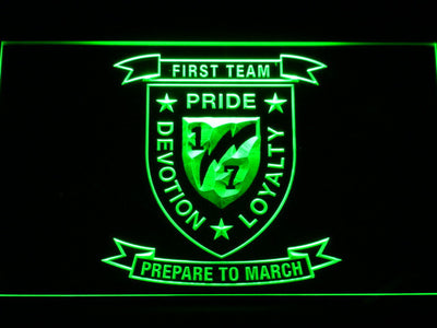 US Marine Corps 1st Battalion 7th Marines LED Neon Sign - Green - SafeSpecial