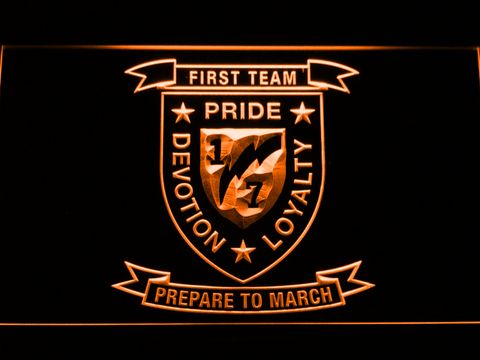 Image of US Marine Corps 1st Battalion 7th Marines LED Neon Sign - Orange - SafeSpecial