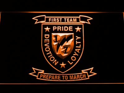 US Marine Corps 1st Battalion 7th Marines LED Neon Sign - Orange - SafeSpecial
