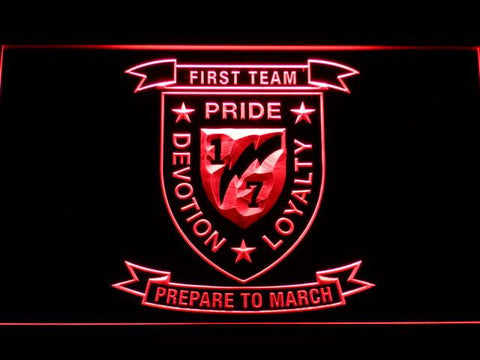 Image of US Marine Corps 1st Battalion 7th Marines LED Neon Sign - Red - SafeSpecial