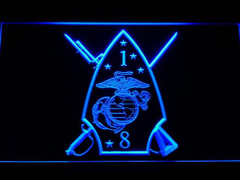 Image of US Marine Corps 1st Battalion 8th Marines LED Neon Sign - Blue - SafeSpecial