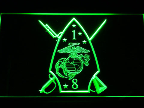 Image of US Marine Corps 1st Battalion 8th Marines LED Neon Sign - Green - SafeSpecial