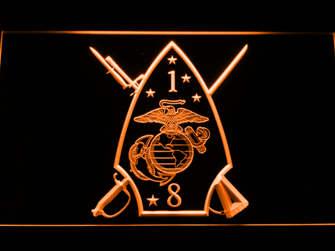 Image of US Marine Corps 1st Battalion 8th Marines LED Neon Sign - Orange - SafeSpecial