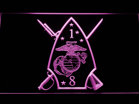 Image of US Marine Corps 1st Battalion 8th Marines LED Neon Sign - Purple - SafeSpecial