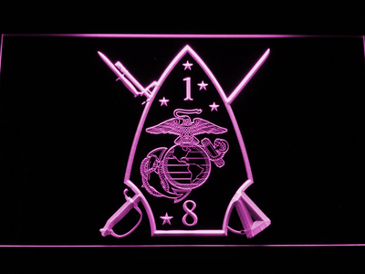 US Marine Corps 1st Battalion 8th Marines LED Neon Sign - Purple - SafeSpecial