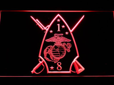 US Marine Corps 1st Battalion 8th Marines LED Neon Sign - Red - SafeSpecial