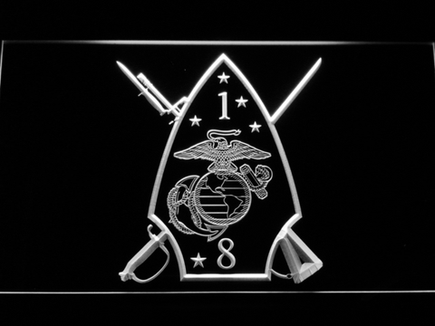 Image of US Marine Corps 1st Battalion 8th Marines LED Neon Sign - White - SafeSpecial