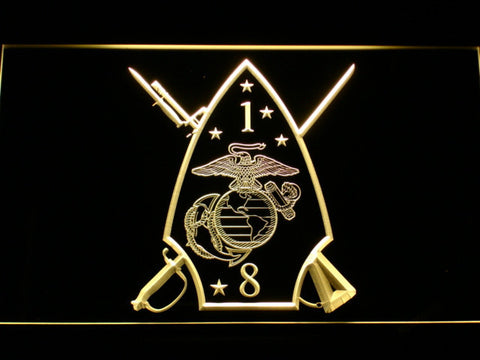 Image of US Marine Corps 1st Battalion 8th Marines LED Neon Sign - Yellow - SafeSpecial