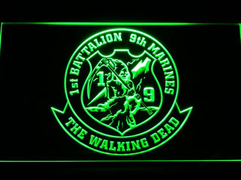 Image of US Marine Corps 1st Battalion 9th Marines LED Neon Sign - Green - SafeSpecial