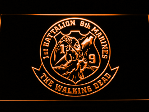 Image of US Marine Corps 1st Battalion 9th Marines LED Neon Sign - Orange - SafeSpecial