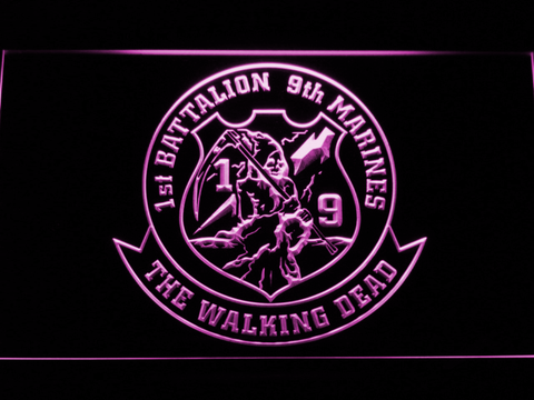 Image of US Marine Corps 1st Battalion 9th Marines LED Neon Sign - Purple - SafeSpecial