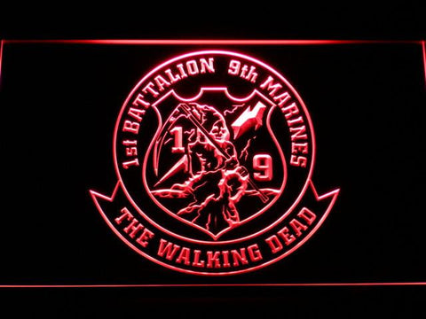 Image of US Marine Corps 1st Battalion 9th Marines LED Neon Sign - Red - SafeSpecial