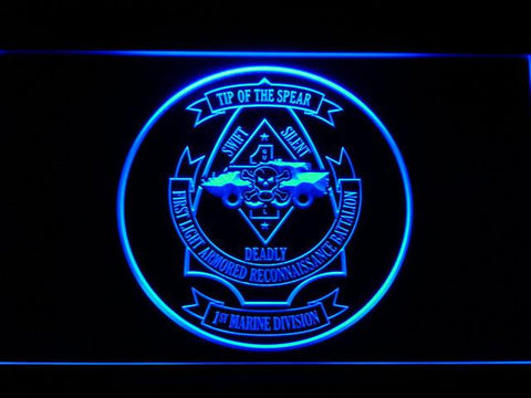 US Marine Corps 1st Light Armored Recon Battalion LED Neon Sign - Blue - SafeSpecial