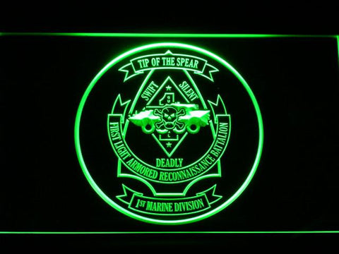 US Marine Corps 1st Light Armored Recon Battalion LED Neon Sign - Green - SafeSpecial