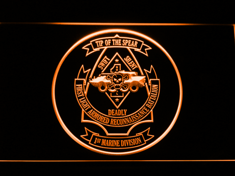 US Marine Corps 1st Light Armored Recon Battalion LED Neon Sign - Orange - SafeSpecial