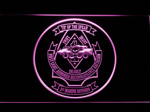US Marine Corps 1st Light Armored Recon Battalion LED Neon Sign - Purple - SafeSpecial