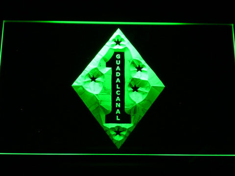 US Marine Corps 1st Marine Division Guadalcanal LED Neon Sign - Green - SafeSpecial