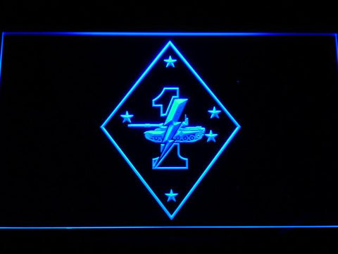 Image of US Marine Corps 1st Tank Battalion LED Neon Sign - Blue - SafeSpecial