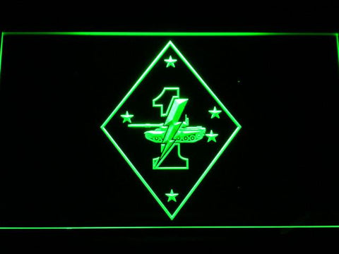 Image of US Marine Corps 1st Tank Battalion LED Neon Sign - Green - SafeSpecial