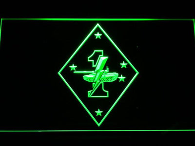 US Marine Corps 1st Tank Battalion LED Neon Sign - Green - SafeSpecial