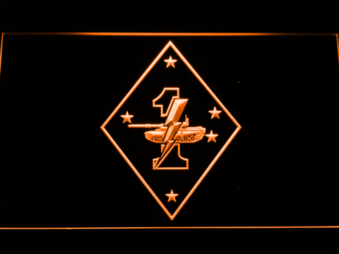 Image of US Marine Corps 1st Tank Battalion LED Neon Sign - Orange - SafeSpecial