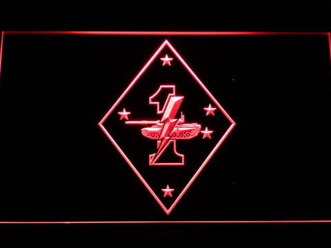 Image of US Marine Corps 1st Tank Battalion LED Neon Sign - Red - SafeSpecial
