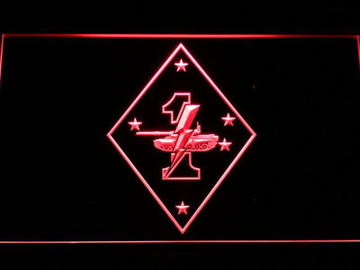 US Marine Corps 1st Tank Battalion LED Neon Sign - Red - SafeSpecial