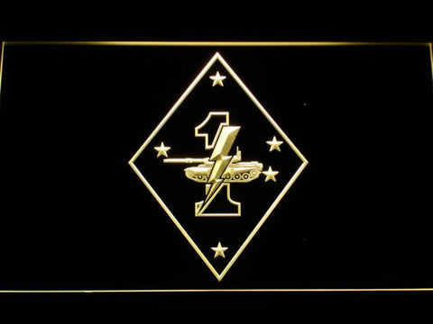 Image of US Marine Corps 1st Tank Battalion LED Neon Sign - Yellow - SafeSpecial