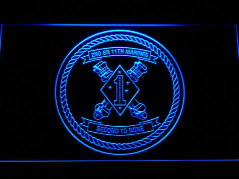 Image of US Marine Corps 2nd Battalion 11th Marines LED Neon Sign - Blue - SafeSpecial