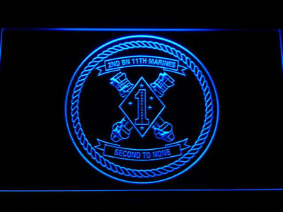 US Marine Corps 2nd Battalion 11th Marines LED Neon Sign - Blue - SafeSpecial