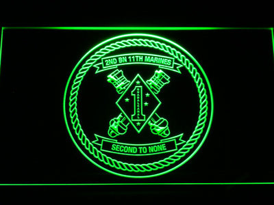 US Marine Corps 2nd Battalion 11th Marines LED Neon Sign - Green - SafeSpecial