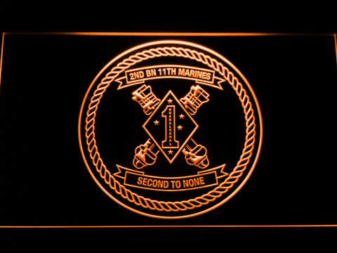 Image of US Marine Corps 2nd Battalion 11th Marines LED Neon Sign - Orange - SafeSpecial