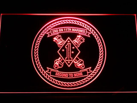 Image of US Marine Corps 2nd Battalion 11th Marines LED Neon Sign - Red - SafeSpecial