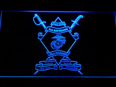 US Marine Corps 2nd Battalion 23rd Marines LED Neon Sign - Blue - SafeSpecial
