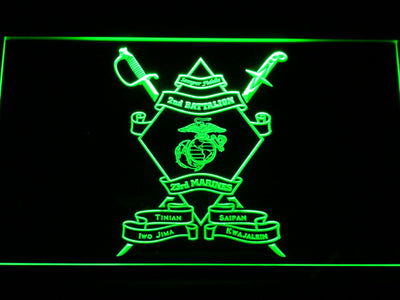 US Marine Corps 2nd Battalion 23rd Marines LED Neon Sign - Green - SafeSpecial