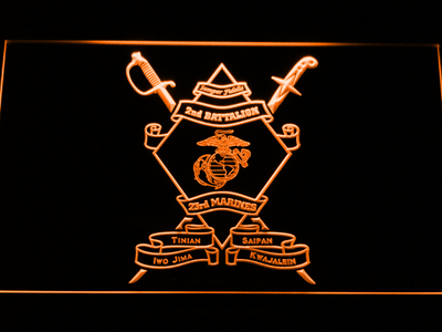 US Marine Corps 2nd Battalion 23rd Marines LED Neon Sign - Orange - SafeSpecial