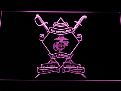 US Marine Corps 2nd Battalion 23rd Marines LED Neon Sign - Purple - SafeSpecial