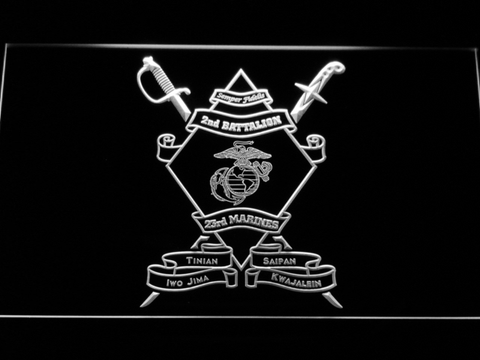 US Marine Corps 2nd Battalion 23rd Marines LED Neon Sign - White - SafeSpecial