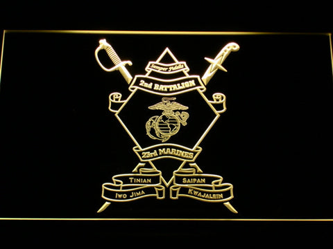 US Marine Corps 2nd Battalion 23rd Marines LED Neon Sign - Yellow - SafeSpecial
