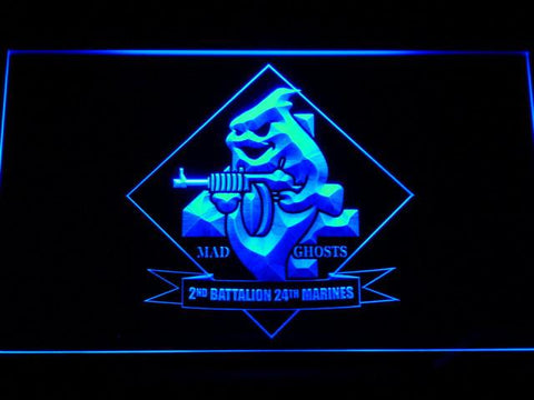 Image of US Marine Corps 2nd Battalion 24th Marines LED Neon Sign - Blue - SafeSpecial