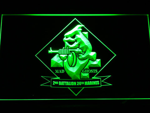 Image of US Marine Corps 2nd Battalion 24th Marines LED Neon Sign - Green - SafeSpecial