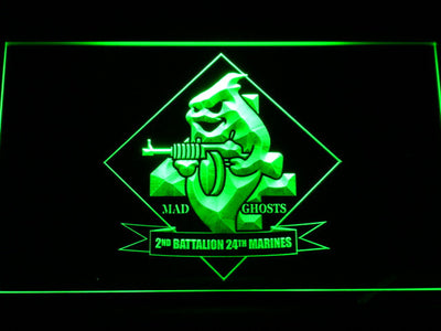 US Marine Corps 2nd Battalion 24th Marines LED Neon Sign - Green - SafeSpecial