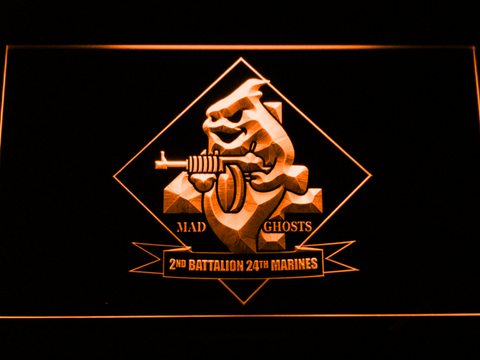 Image of US Marine Corps 2nd Battalion 24th Marines LED Neon Sign - Orange - SafeSpecial
